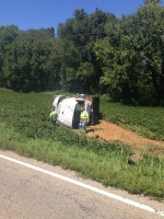 Overturned dump truck on Hwy 36 today, 9-8-14