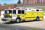 Rescue 48 is a 1991 Spartan/SWAB heavy rescue vehicle. Rescue gear includes two Hurst spreaders, two Hurst 150 O-cutters, Hurst rams (multi sizes), various size air bags and a variety of air operated tools. A high pressure 200 foot hose reel with manifold is included. Lighting includes cab and body-mounted flood lights and a rear mounted light tower. Power is provided by a 30 KW Harrison generator. There is a winch mounted at the rear of the vehicle. The back interior of the rescue is a command post area with various radios, phones, computer and resource & technical information.  Removed from active service in 2011.
