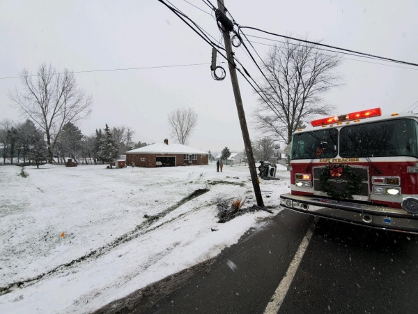 Vehicle strikes utility pole
