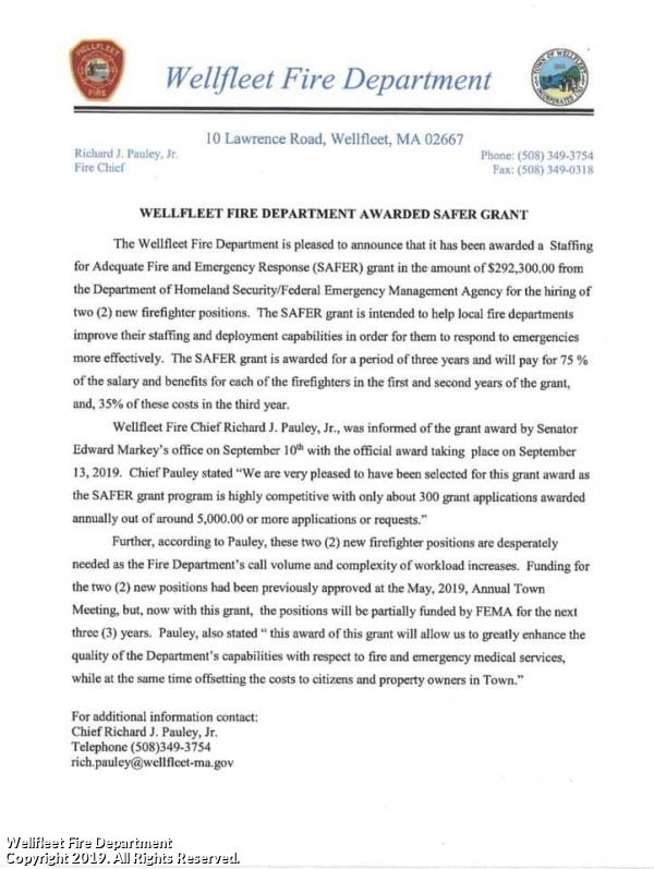 Wellfleet Fire Awarded SAFER Grant