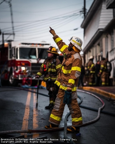 Deputy Chief Eric Smothers directing crews at the downtown fire on 2/3/2019