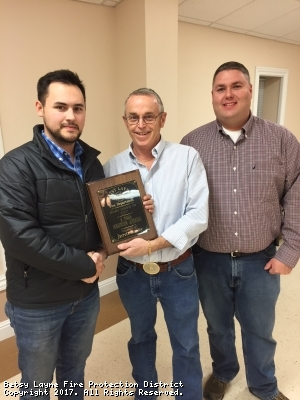 Congrats to Jarrett Stanley(left) receiving and award for five years of service to our department.  Presented by Lonnie Allen(middle) and Bobby Slone(right)
