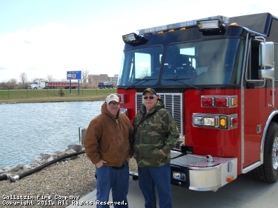 Jim Nagle and is dad, Jack, stand in front of Engine 711 during final inspection pump test at the Sutphen manufacturing plant.