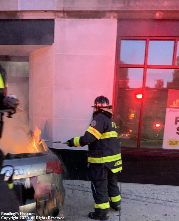 Vehicle Into Building Catches Fire