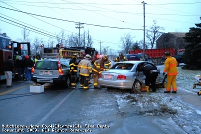 Injury accident  during a ice storm in front of the Town of Amherst Highway Dept. 1/30/08