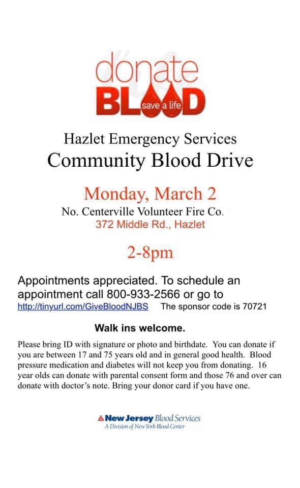 Hazlet Emergency Services Community Blood Drive