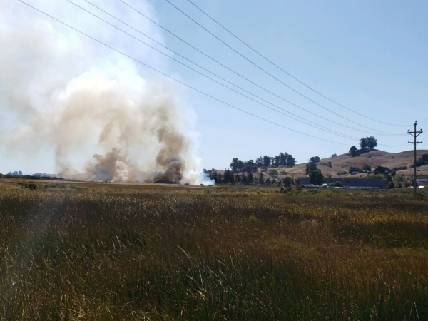 Scenes taken responding to a fire, Petaluma River.