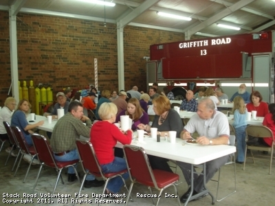 Enjoying a great meal and awesome fellowship with out brothers at Griffith Road VFD.