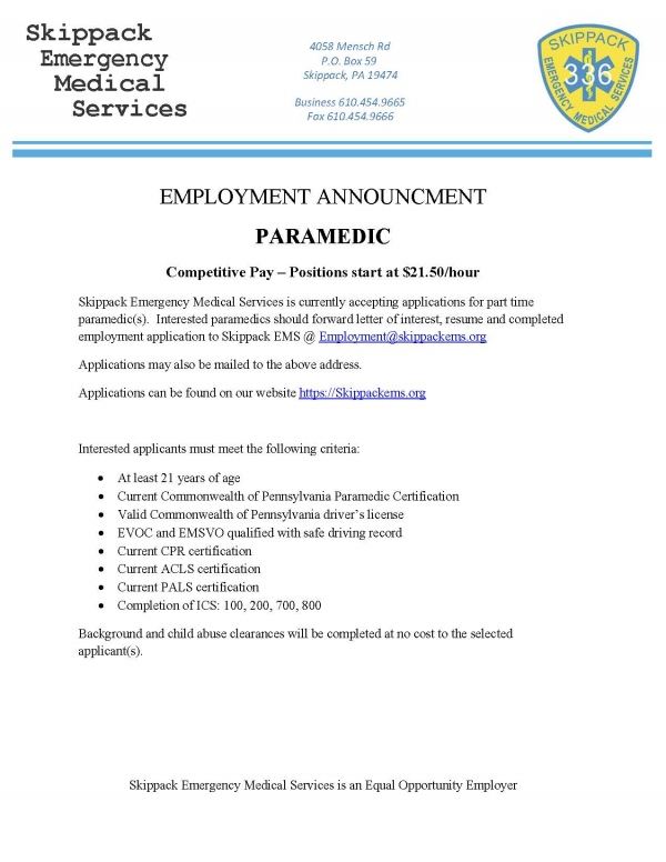 Employment Announcement