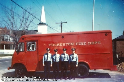 The men gather in front of their 1966 Ford/Boyertown Utility Van.