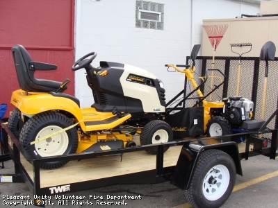 PUVFD firefighters Spring raffle for a Cub Cadet Garden Tractor, Rototiller, Push Mower, Weedwacker, Leaf Blower and gardening hand tools.
