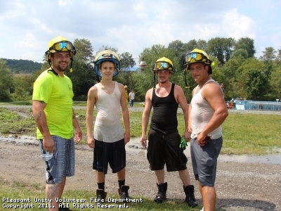 "PUVFD firefighters Tyler Riel, Matt Bacha, Austin Riel and Chad Henschel made up the ""Young"" team."