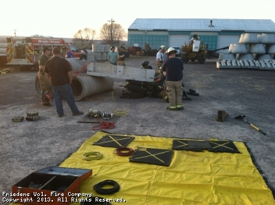 Crews worked with airbags at there bi-monthly training at Eagle concrete in Sipesville