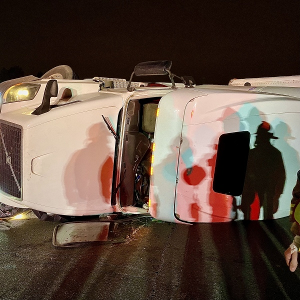 Early Morning Tractor-Trailer Rollover with Injury