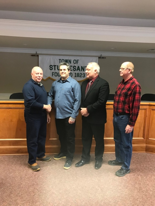"""On January 1, 2020, the Town of Stuyvesant, NY held their Town's Swearing in ceremony at their Town Hall. Among them was Fire Police Officer Michael Squires, of Stuyvesant Falls Co. #2. Due to work obligations, Michael had to miss his initial Oath of Office but, the Supervisor and Town Clerk invited him to attend the Swearing in Ceremony for the Town Officials. <br><br>Photo: """"Past President and Chair of HM Fire Police Committee Tom With; Newly sworn in Fire Police Officer Michael Squires; Tom Burrall, Town Councilman and Capt. of Stuyvesant Falls Co. #2; and Douglas Park, Stuyvesant Falls Co. #2 Secretary"""