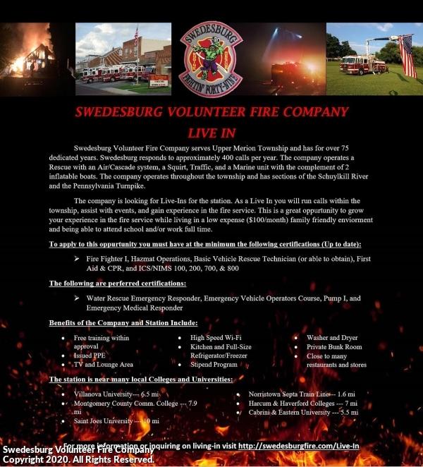 Swedesburg Volunteer Fire Company Live-In Program